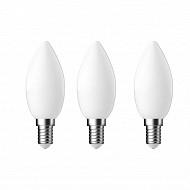 Gétic ampoule  LED flamme filament milky équivalent 40W 2700K E 14 lot de 3