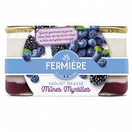 La fermière yaourt Mont plaisir mûres myrtilles 2x160g
