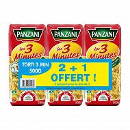 Panzani torti cuisson rapide 2x500g + 1 paquet offert
