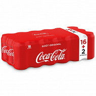 Coca-Cola boîte 18x33cl (16+2 offertes)