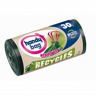 Handy bag sacs poubelle x15 poignées coulissantes recyclés 30l