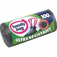 Handy Bag sacs poubelle x10 poignées coulissantes ultra résistant 100 litres