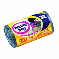 Handy Bag sacs poubelle x15 fixation élastique 30l