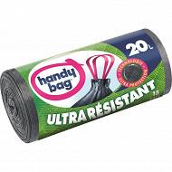 Handy bag sacs poubelle x15 poignées coulissantes ultra résistants 20 litres