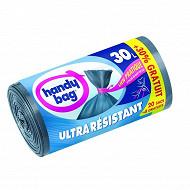Handy bag sacs poubelle 30L ultra résistants à liens + 30% offert
