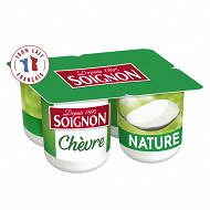 Soignon yaourt nature au lait entier de chèvre 4x125g