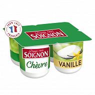 Soignon yaourt sucré au lait entier de chèvre aromatisé à la vanille 4x125 g