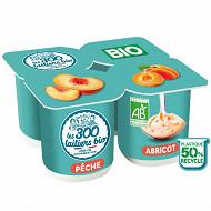 Les 300 & bio yaourt brassé bio 4x125g panaché 2 abricot + 2 pêche