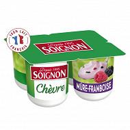 Soignon yaourt brassé au lait entier de chèvre sucré aux mûres et aux framboises 4x125 g