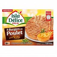 Isla Délice burger de poulet rôti x8 halal 640g