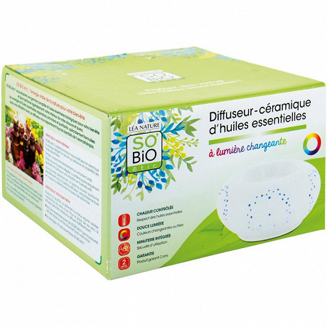 So bio diffuseur ceramique huiles essentielles lumiere changeante