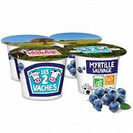 Les 2 Vaches yaourt brassé myrtille sauvage 4x115g
