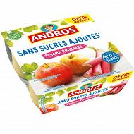 Andros dessert fruitier sans sucre ajouté pomme rhubarbe 4x100g offre découverte