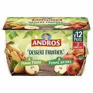 Andros dessert de pomme nature et pomme poire 12x100G