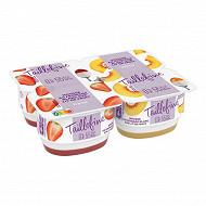 Taillefine la mousse de fromage blanc 0% mg peche fraise 4 x 115 g