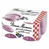 Bonne Maman yaourt crémeux myrtille cassis 4x125g
