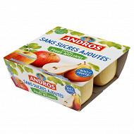 Andros purée de pommes et de poires williams 4x100g sans sucres ajoutés