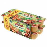 Andros dessert panaché pomme nature + pomme abricot 12x100g +4 offerts