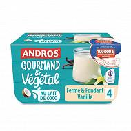 Andros gourmand & végétal lait de coco vanille 4x100g