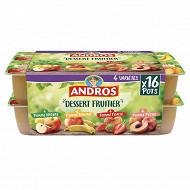 Andros dessert de pommes nature, vanille fraise, pêche 16x100g