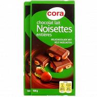 Cora tablette de chocolat lait noisettes entières 2x100g