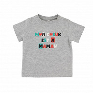 Tee shirt manches longues GRIS CHINE 6MOIS
