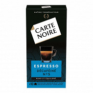 Carte Noire espresso décaféiné type nespresso 10 capsules 53g