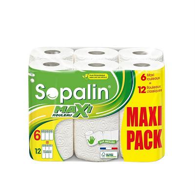 Sopalin Sopalin essuie-tout sur mesure blanc 6=12 rouleaux maxi pack