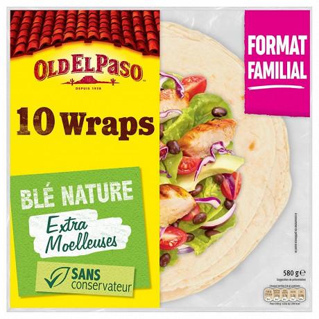 Old el paso wraps blé nature format familial  x10 580g