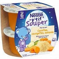 Nestlé p'tit souper carottes courgettes semoule dès 6 mois 2x200g