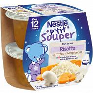 Nestlé p'tit souper risotto carottes champignons dès 12 mois 2x200g
