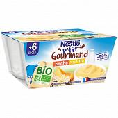 Nestlé P'tit Gourmand Bio pêche vanille dès 6 mois 4x90g