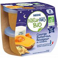 Nestlé Naturnes Bio Plats du Soir Courge, Butternut, Boulgour et romarin dès 8 mois 2x190g