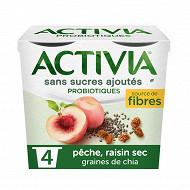Activia sans sucre ajouté pêche raisin chia 4x115g
