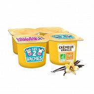 Les 2 Vaches crème dessert vanille 4x95g