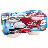 Cora yaourt brassé sucré sur lit à la mûre et lit à la framboise 4x150g