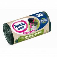 Handy Bag sac poubelle x15 poignée coulissante recyclé fixation élastique 30l