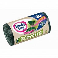 Handy bag sacs poubelles x20 recycles 30l