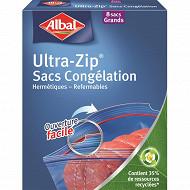 Albal sacs congélation x8 ultra zip grand modèle 8l