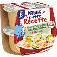 Nestlé p'tite recette risotto courgettes carottes jambon dès 8 mois  2x200g