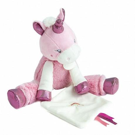 Pantin mm avec doudou licorne rose Baby Nat