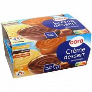 Cora crème dessert saveur vanille chocolat et caramel 12x125g