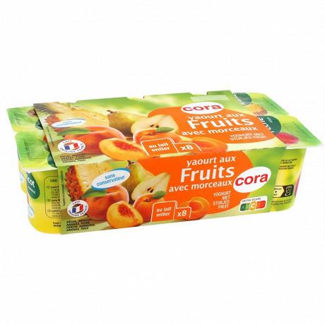 Cora yaourt aux fruits jaunes avec morceaux 8x125g
