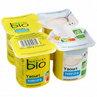 Nature bio yaourt nature issu de l'agriculture biologique 4x125g