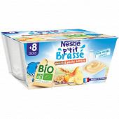 Nestlé P'tit Brassé Bio muesli & banane pêche dès 8 mois 4x90g