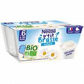 Nestlé P'tit Brassé Bio nature sans sucres ajoutés dès 6 mois 4x90g