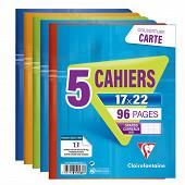 Clairefontaine lot de 5 cahiers piqure 17x22 cm 96 p grands carreaux
