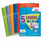 Clairefontaine lot de 5 cahiers piqure 24x32 cm 96 pages seyes 90 grammes