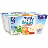 Nestlé P'tit Brassé Bio pomme pêche dès 6 mois 4x90g