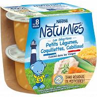 Nestlé Naturnes Les Sélections Petits légumes,coquillettes cabillaud dès 8 mois 2x200g